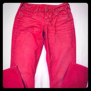 True Religion Shannon Red Skinny Corduroy Jeans